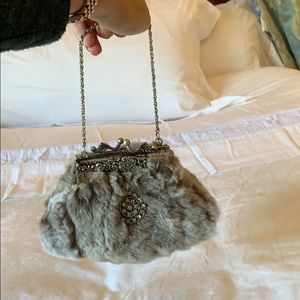 Real Mink fur clutch with diamond brooch